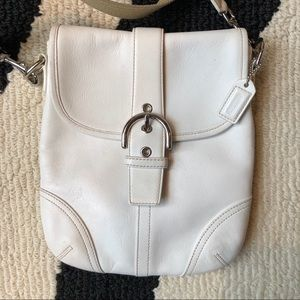 Coach Leather Small Crossbody Bag, Ivory colour